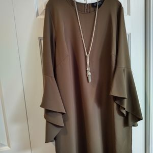 Eloquii olive dress with dramatic bell sleeves